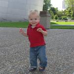 Miles walking around at the arch