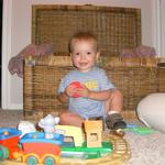 Playing with his train at Nana's